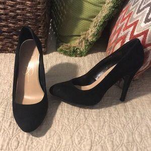 black, suede heels